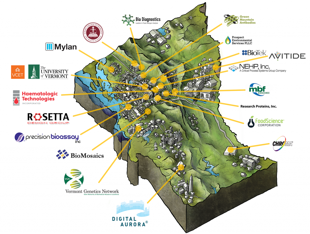 Map illustration of Vermont showing locations and logos of member companies.
